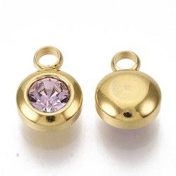 Guldfärgat rostfritt stål berlock, liten ljusrosa, 1 st