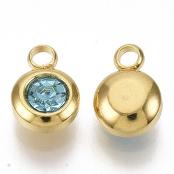Guldfärgat rostfritt stål berlock, liten turkos, 1 st