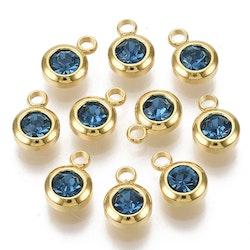 Guldfärgat rostfritt stål berlock, liten blå, 1 st