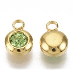 Guldfärgat rostfritt stål berlock, liten ljusgrön, 1 st