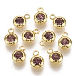 Guldfärgat rostfritt stål berlock, liten lila, 1 st