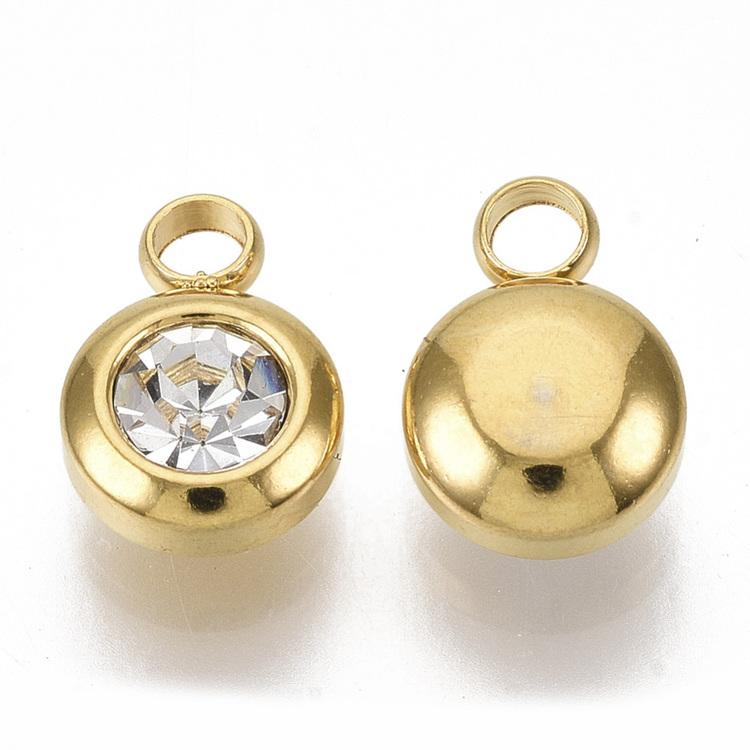 Guldfärgat rostfritt stål berlock, liten glas, 1 st