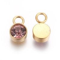 Guldfärgat rostfritt stål berlock, lila, 1 st