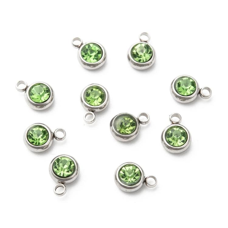 Rostfritt stål berlock, liten ljusgrön, 1 st