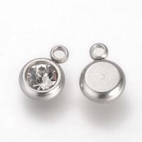 Rostfritt stål berlock, liten glas, 1 st