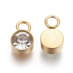 Guldfärgat rostfritt stål berlock, glas, 1 st