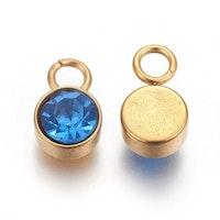 Guldfärgat rostfritt stål berlock, blå, 1 st