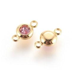 Guldfärgat rostfritt stål connector, liten rosa, 1 st