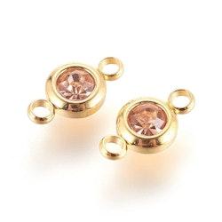 Guldfärgat rostfritt stål connector, liten peach, 1 st