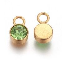 Guldfärgat rostfritt stål berlock, ljusgrön, 1 st