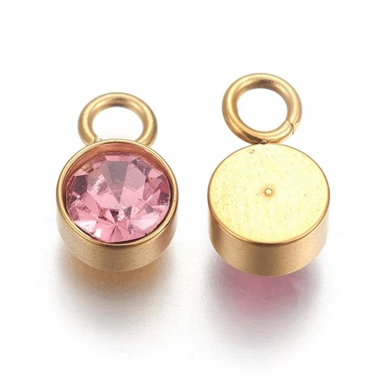 Guldfärgat rostfritt stål berlock, rosa, 1 st