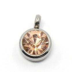 Rostfritt stål berlock med ögla, liten peach, 1 st