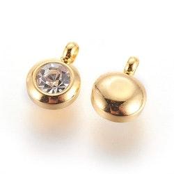 Guldfärgat rostfritt stål berlock med ögla, liten glas, 1 st