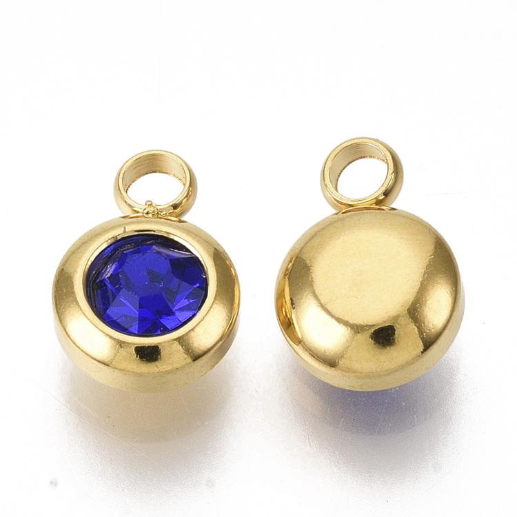 Guldfärgat rostfritt stål berlock, liten mörkblå, 1 st