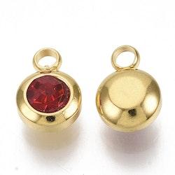 Guldfärgat rostfritt stål berlock, liten röd, 1 st