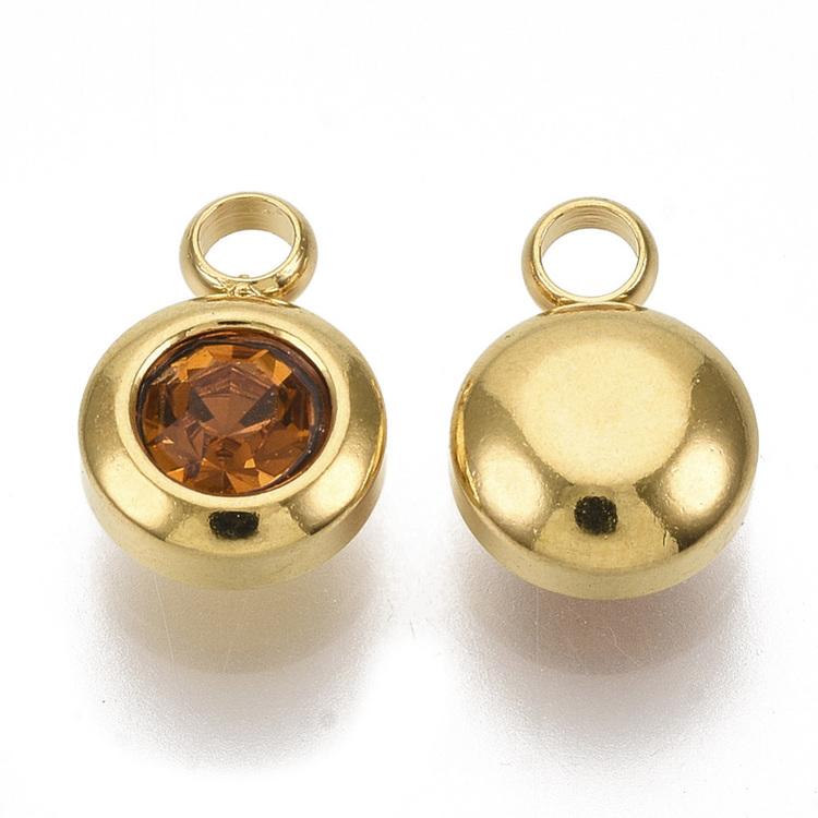 Guldfärgat rostfritt stål berlock, liten topaz, 1 st