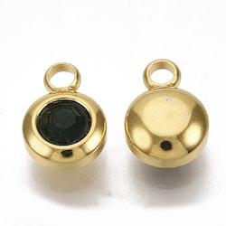 Guldfärgat rostfritt stål berlock, liten mörkgrön, 1 st