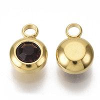 Guldfärgat rostfritt stål berlock, liten mörklila, 1 st