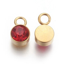 Guldfärgat rostfritt stål berlock, röd, 1 st