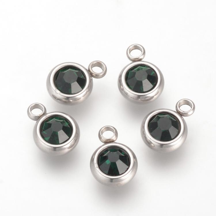 Rostfritt stål berlock, liten mörkgrön, 1 st