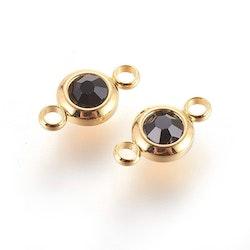 Guldfärgat rostfritt stål connector, liten svart, 1 st