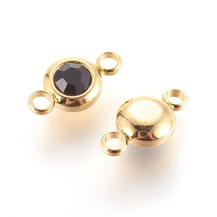 Guldfärgat rostfritt stål connector, liten vinröd, 1 st