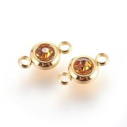 Guldfärgat rostfritt stål connector, liten topaz, 1 st