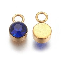 Guldfärgat rostfritt stål berlock, mörkblå, 1 st