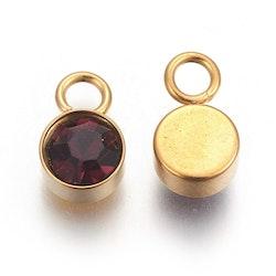 Guldfärgat rostfritt stål berlock, mörklila, 1 st