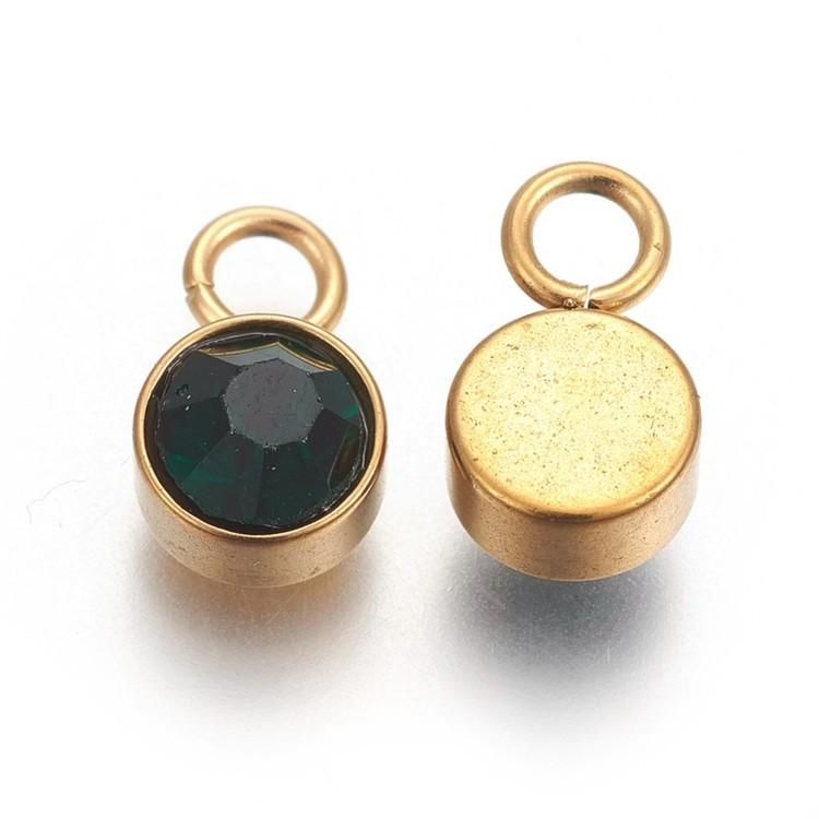 Guldfärgat rostfritt stål berlock, mörkgrön, 1 st