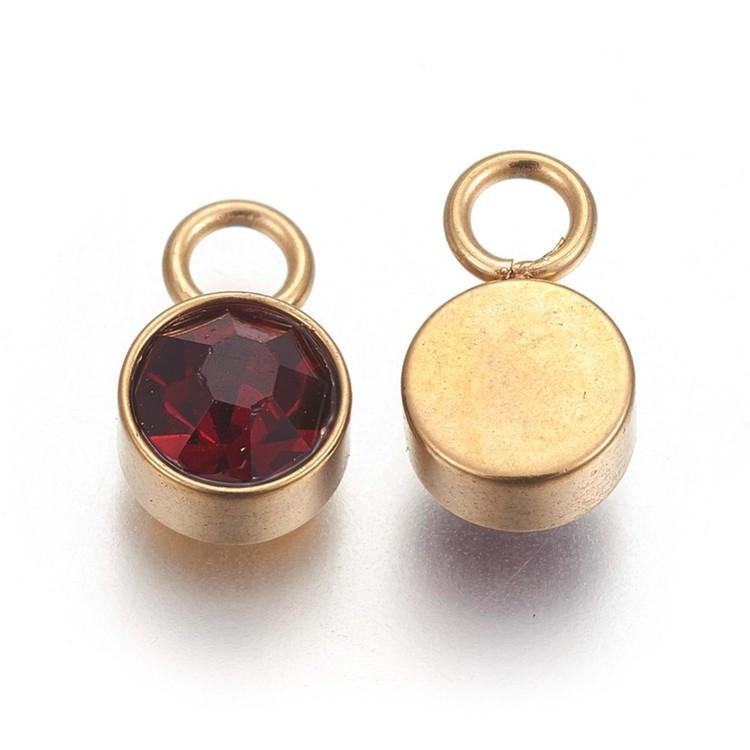 Guldfärgat rostfritt stål berlock, vinröd, 1 st