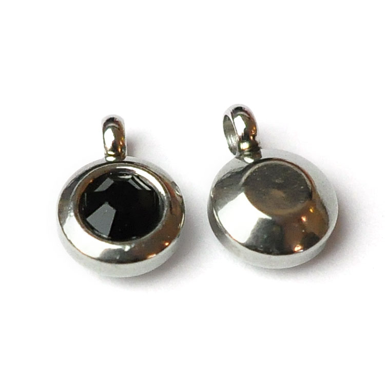 Rostfritt stål berlock med ögla, liten svart, 1 st