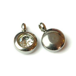 Rostfritt stål berlock med ögla, liten glas, 1 st