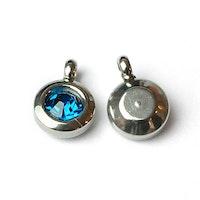 Rostfritt stål berlock med ögla, liten turkos, 1 st