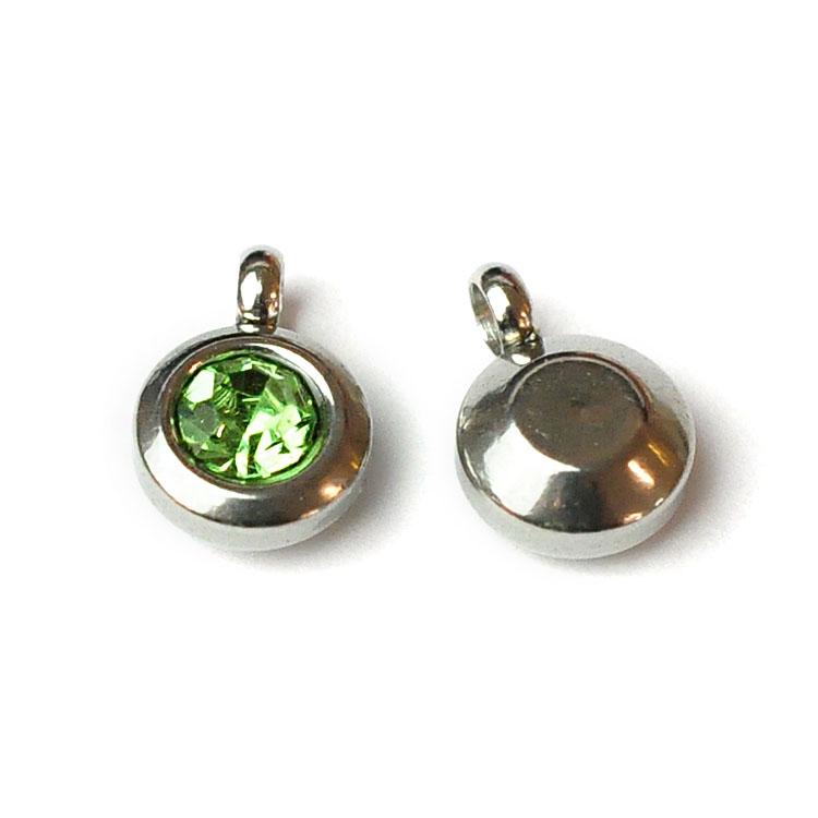 Rostfritt stål berlock med ögla, liten ljusgrön, 1 st