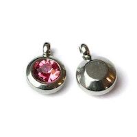 Rostfritt stål berlock med ögla, liten rosa, 1 st