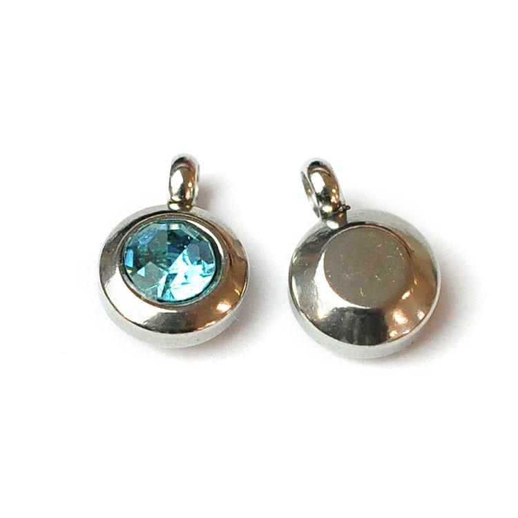 Rostfritt stål berlock med ögla, liten ljusblå, 1 st