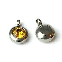 Rostfritt stål berlock med ögla, liten gul, 1 st