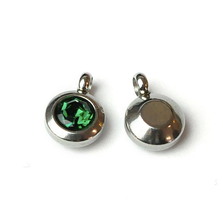 Rostfritt stål berlock med ögla, liten blågrön, 1 st