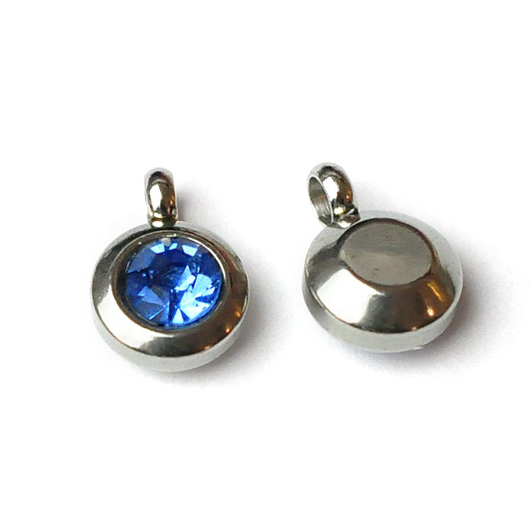 Rostfritt stål berlock med ögla, liten blå, 1 st