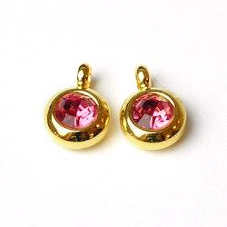 Guldfärgat rostfritt stål berlock med ögla, liten rosa, 1 st