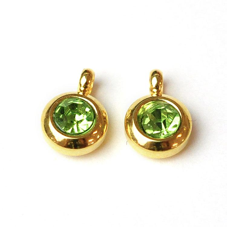 Guldfärgat rostfritt stål berlock med ögla, liten ljusgrön, 1 st