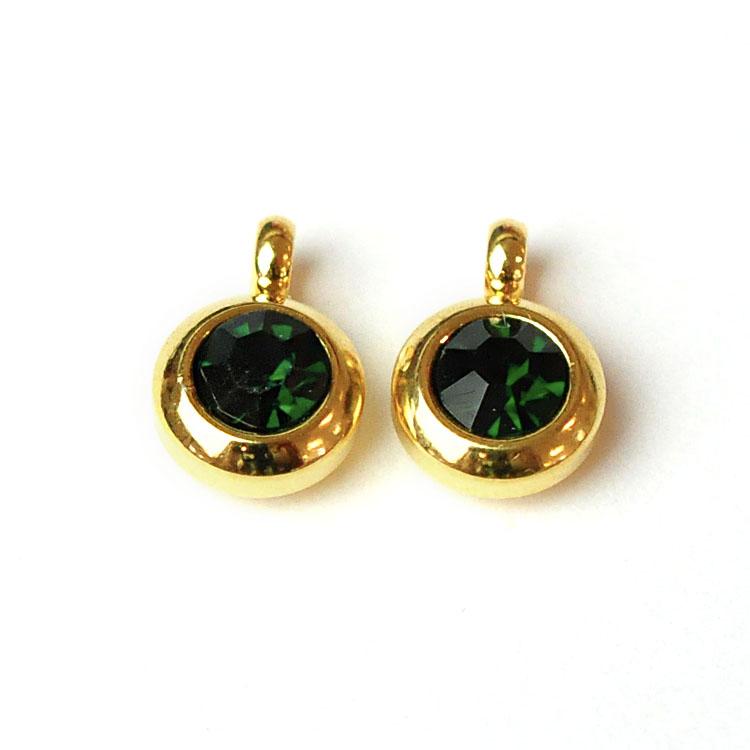 Guldfärgat rostfritt stål berlock med ögla, liten mörkgrön, 1 st