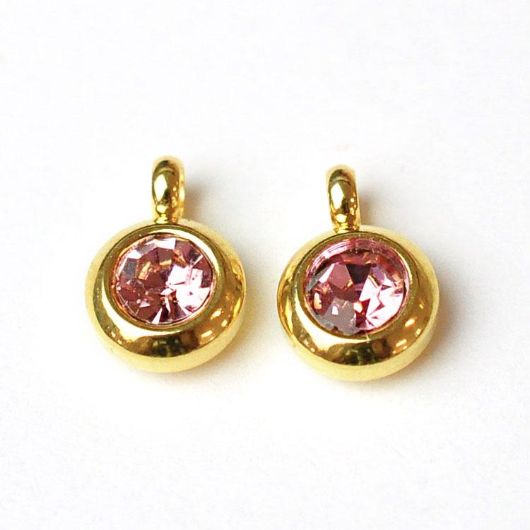 Guldfärgat rostfritt stål berlock med ögla, liten ljusrosa, 1 st
