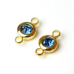 Guldfärgat rostfritt stål connector, liten blå, 1 st