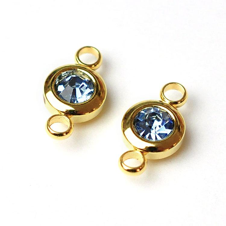 Guldfärgat rostfritt stål connector, liten ljusblå, 1 st