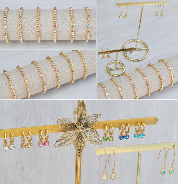 Guldfärgat rostfritt stål connector, liten cerise, 1 st