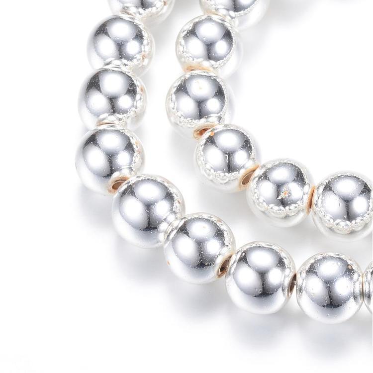 Silverfärgad hematit runda 2 mm, 1 sträng