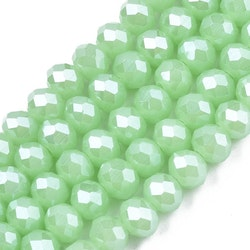 Facetterade abacus 6x5 mm ljusgrön, 1 sträng
