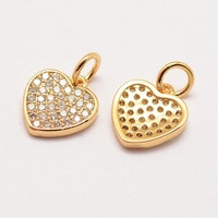 Guldfärgad berlock cubic zirconia, hjärta, 1 st